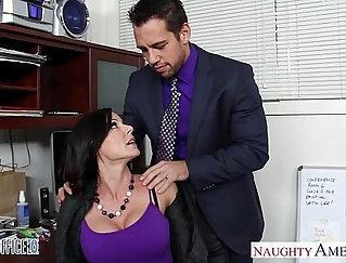 Brunette girl vs dude in the office