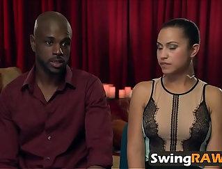 Blowjobs during interracial orgy