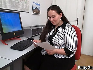 BBW dominating guy and fucks in office