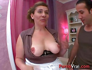 Trailhaired sub gets a mouthful of mature cum