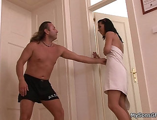 Brunette Paraded With Dick In The Shower