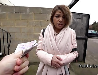 Blonde hottie fucked outdoors for money