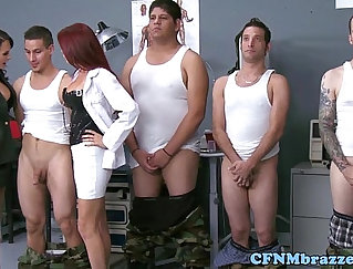 Attractive cfnm chick gets a facial