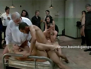 Blond babe with big tits gets gangbanged on camera
