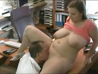 Chubby office chief Ashley Rae administered by her boss