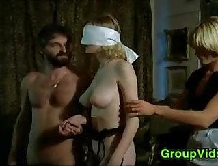 Big blonde girl gets lez orgy