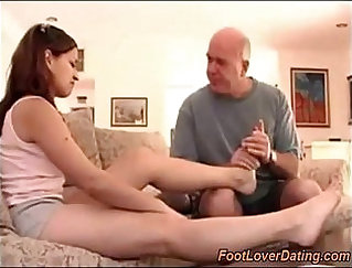 Hot daddy tugs tittyfuck his horny cock