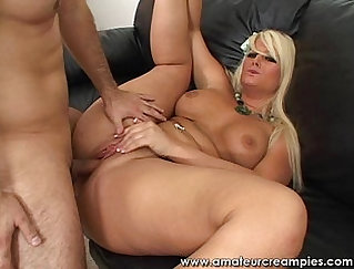 Babe Fucked On Floor By Glass Creampie