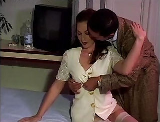 Busty brunette porno in white stockings