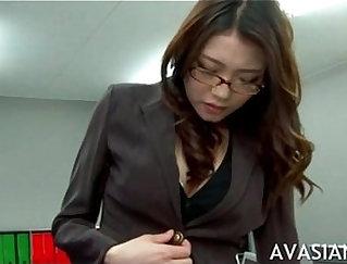 asian secretary finger fucks employees desk