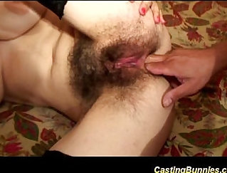Cute amateur Milf gets hairy snatch eaten by a guy on casting