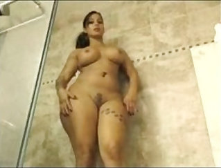 Busty wife fucks hard after quim shower
