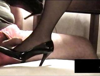 Black Stockings SteelePants bite my cum