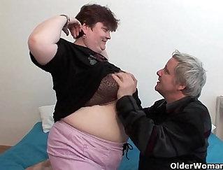 Chubby chick gets cumshot as grandpa enjoys wild pov session