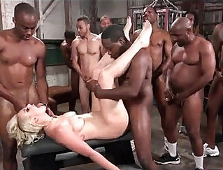 Blonde Wife Gangbanged out by Huge Black Cock