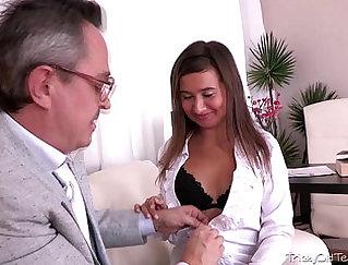 Blonde temptress Lily Morgan sucks cock of her horny teacher