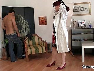 Blowjob mature titty fucks a large cock